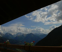 My view (unlimited inspirations) Tags: world life wood travel flowers blue trees decorations red summer sky brown white black mountains window nature grass clouds landscape lights restaurant switzerland town scenery europe colours village seasons angle swiss best matterhorn colourful unforgettable valais valleys riederalp sunlights summits trafficfree raron platinumheartaward unlimitedinspirations