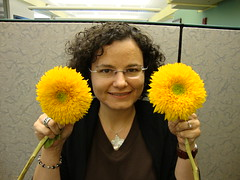 "with 'FUZZY"" sunflowers"