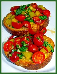 Bruschetta, Fresh Tomatoes and Basil, Recipe For Happy Eaters Below (moonjazz) Tags: red food verde green cooking yellow tomato bread recipe pepper rojo italian comida tomatoes vegetable fresh delicious eat ingredients garlic basil chopped taste oliveoil bliss bruschetta appitite