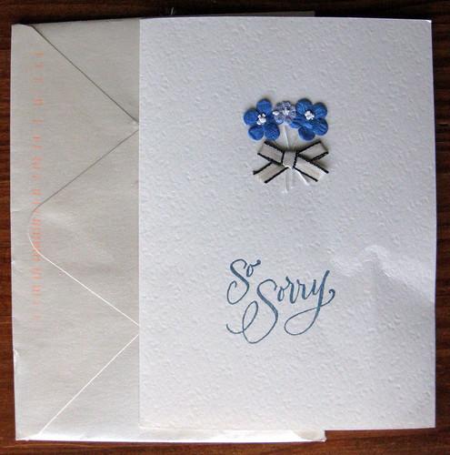 Handmade condolence card