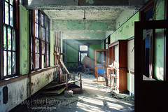 (riot jane) Tags: morning school windows light green doors decay michigan detroit urbanexploration sunrays urbex riotjane bethanyhelzer bethanyhelzerphotography