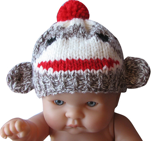 Sock Monkey Hat Knitting Pattern : sock monkey hat for a newborn baby KnitHacker