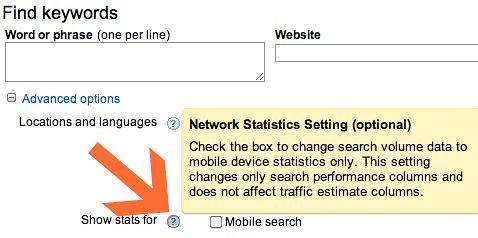Google Keyword Tool - Mobile Searches