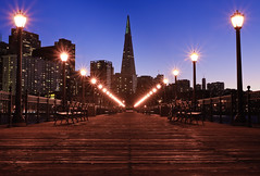 Night Lights (kaoni701) Tags: sf sanfrancisco california street lines architecture america skyscraper pier cityscape dusk promenade coittower baybridge embarcadero bayarea 1750 boardwalk ferrybuilding lamps bluehour transamerica trans tamron vanishing vc pier7 converging pier5 d300s