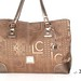316 - Liz Claiborne Brown & Gold Embossed Fabric Tote