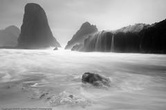 Seals Rocks Late Summer Morning B/W Version (dedge555) Tags: bw blackwhite waterfall nikon oregoncoast nikkor sealrocks seastacks 2470mm d700 nikond700 2470mmf28g afsnikkor2470mmf28ged varinduo