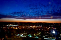 overlooking ithaca (almostsummersky) Tags: above city longexposure sunset sky newyork fall clouds buildings landscape lights university dusk clocktower cornell ithaca overlook nightfall westcampus mcgrawtower