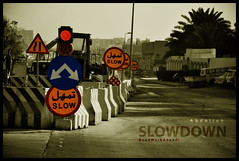 SLOW DOWN! (Abdulla Attamimi Photos [@AbdullaAmm]) Tags: road street red sign yellow work photography photo nikon slow photos photographic arrow 2008 saudiarabia 2010  abdulla abdullah amm  slowdown  d90 roadworkahead tamimi   attamimi desamm abdullahamm abdullaamm desammcom desammnet sebea altamimialtamimi    abdullaattamimi abdullahattamimi