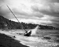 Beached Sailboat (13 Photography) Tags: ocean white black 120 film water clouds boat waves pentax takumar kodak negative sail beached medium format 100 6x7 67ii ektar 105mm f24 elchin pentaxart