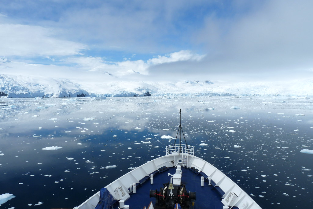 Ships enters the Antarctic Sounds