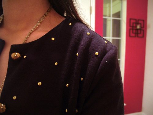 thrifted, gold studded jacket