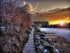 Pathway To A Winter Wonderland (Osgoldcross Photography) Tags: uk morning trees winter sky plants sun lake ice clouds photoshop sunrise dawn pond frost raw glow olympus solstice wintersolstice wakefield hdr westyorkshire pontefract bankside cs4 photomatix tonemapped rawconversion handheldhdr redlane streethouse olympuse420 redlanepond