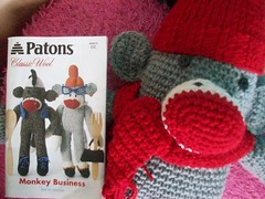 Sock monkey (Mooy) Tags: red hat scarf monkey diy sock crochet gray knit patons