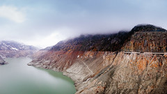 Emosson dam, Switzerland (jev) Tags: bouquicanyons dinosaurfootprints switzerland leicam9 mountblanc trielmar161821mm 06000000 06002000 06002002 06006000 06006005 06007000 600 chamonix chatelard emossondambarragedemosson environment wate angle dam ecology environmentalism hydroelectric lake land landscape leica meters rangefinder scenery wide