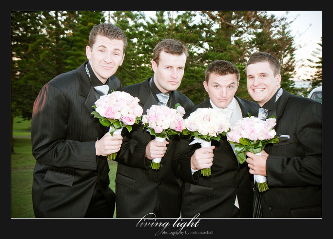 Guys with flowers. King Edward Park. Newcastle wedding photography.