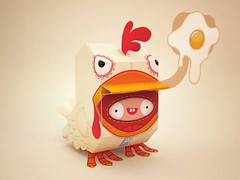 Tucky! (Dolly Oblong) Tags: red white chicken handmade egg custom dolly dollies customs designertoy chickensuit tucky freedownload papertoy joshmckible nanibird dollyoblong