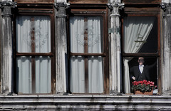 The Observing (Ketosea) Tags: travel venice boy red italy man flower window up look architecture composition square nikon curtain lion palace smoking tuxedo elegant glance cyclamen carneval sanmarco frac observing d300 generali sowbread smartly ketosea danilomall