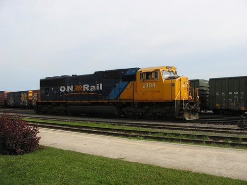 Ontario Northland Railway Engine #2104 at Englehart railroad ...