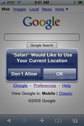 Google My Location iPhone