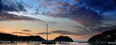 Paxos Panoramic (Chris Snowden) Tags: sunset sea sky colour water beautiful clouds landscape bay boat nikon view harbour gorgeous scenic greece corfu paxos d90