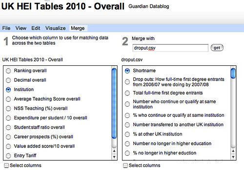 Google fusion table merge