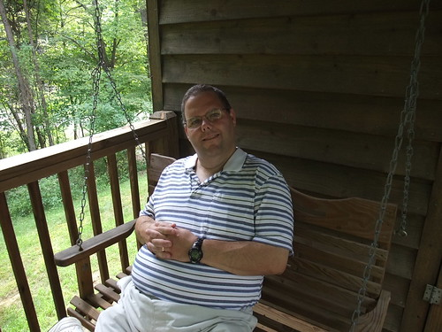 Paul on the Porch Swing at the Inn at Cedar Falls