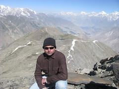 AJ Sitting onRush Peak after seeing K2 having Rush Lake, Hunza and Nagar Valley on the Back (Abdul Jabbar) Tags: expedition peak rush memorable