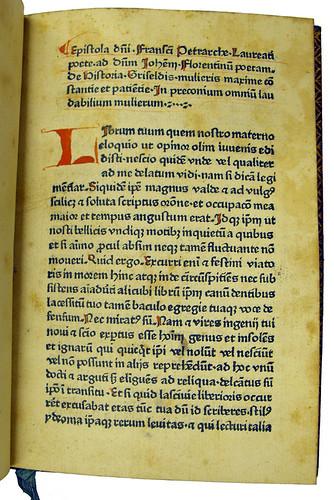 Coloured initial and capital strokes in Petrarca, Francesco: Historia Griseldis