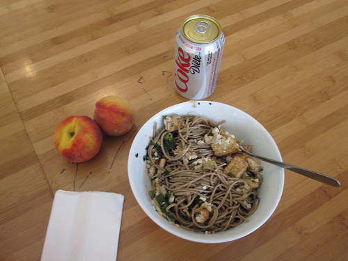 Otsu, peaches (from groceries) and a Diet Coke from the vending machine ($1.25)
