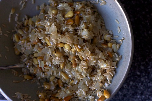 rice, pine nuts, onion, garlic