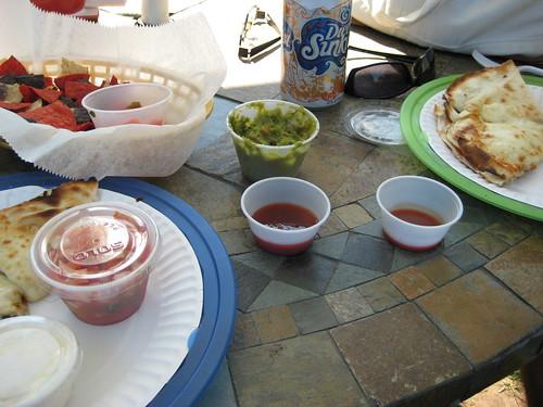 quesadillas and peach-vidalia hot sauce