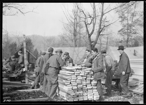This 'Counter Restaurant' Is at CCC Camp, TVA #22, near Esco, Tennessee. Temporarily the Boys Are Eating Outdoors and Using for a Lunch Counter Lumber Which Is to Be Used in the Construction of Their Winter Barracks