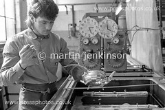 85060325 (Martin Jenkinson Images) Tags: uk greatbritain england people man male industry monochrome silver industrial unitedkingdom south sheffield yorkshire plate 80s gb production british 1980s 1985 making hollow cutlery ware makers manufacture southyorkshire gbr manufacturing 826 whiteman parkin hollowware silversmiths cutlers holloware silverplate epns silverplating parkinsilversmithsltd martinjenkinsonwwwpressphotoscouk