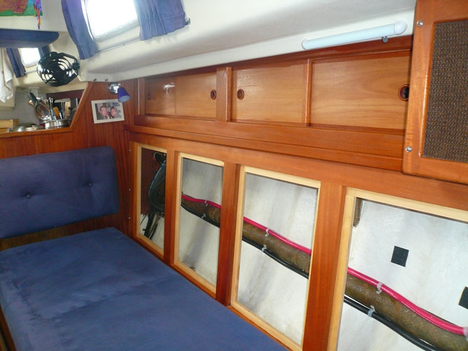 Storage behind Port Settee