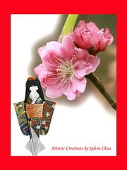 WashiDoll Postcard 02 (Artistic Creations) Tags: handmade colourful japanesedolls washi plumblossoms washidolls