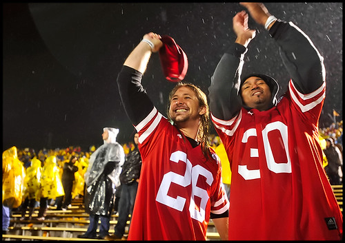 Brady Koch and Shawn Hoover celebrate Nebraskas touchdown spree during the fourth quarter. Koch and Hoover are both MU students but, as native Nebraskans, cheered on the Huskers.