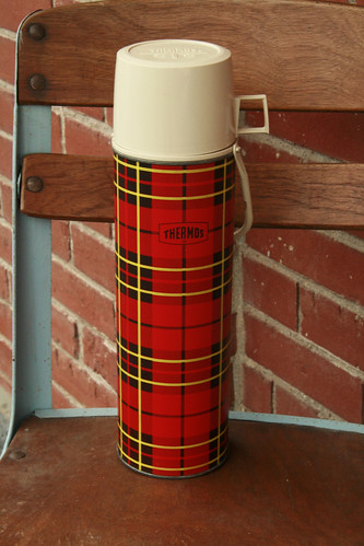 Vintage Lumberjack Plaid Quart Sized Thermos