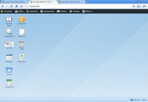Web based desktop of eyeOS