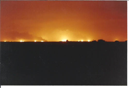 Night View of Oil Well Fires