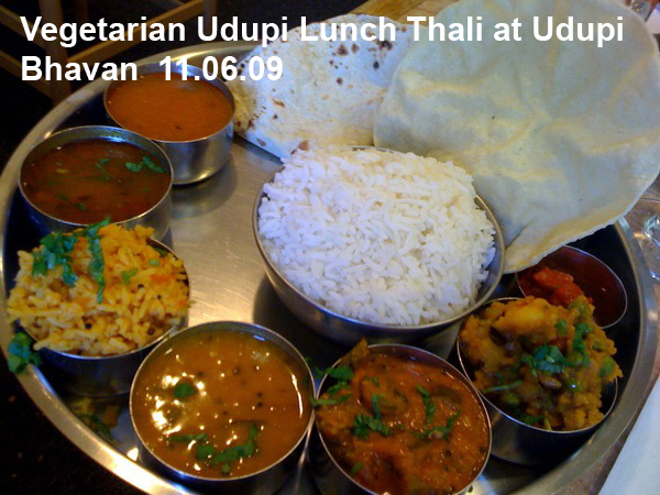 Vegetarian Indian Lunch at Udupi Bhavan