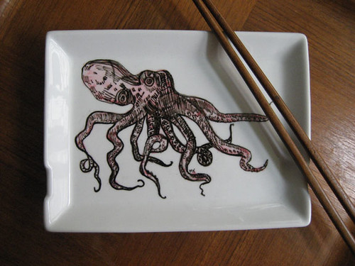 Handpainted Ceramic Sushi Serving Plate with Octopus