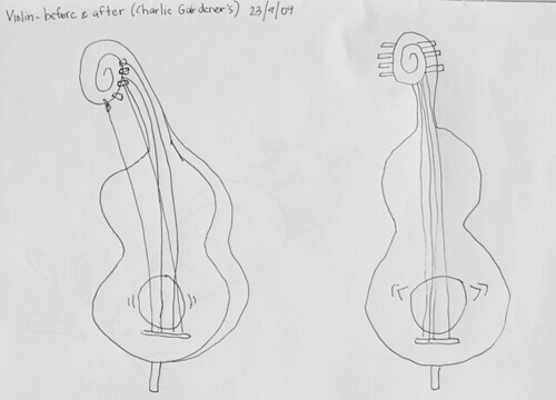 Violin. Before and after