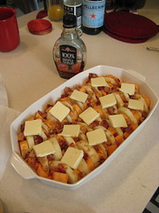Sweet potatoes & apples ready for the oven