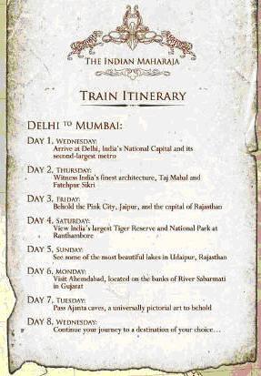 Indian Maharaja - Delhi to Mumbai route