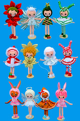 Boopsie Pose Dolls! (boopsie.daisy) Tags: santa christmas holiday tree bunny japan angel vintage pose star colorful doll dolls handmade ooak poinsettia gingerbread inspired candycane peppermint dogwalker boopsiedaisy