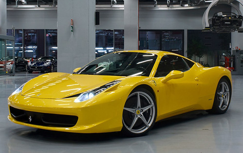 yellow Ferrari 458 italia