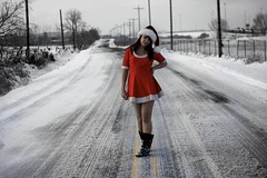 day one hundred and thirty eight. (geewillikersjett) Tags: road santa christmas winter red white hat lines yellow standing happy jolly frontpage iphotooriginal