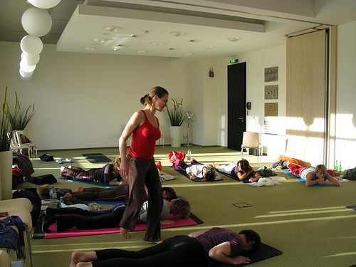 Eva Hager-Forstenlechner teaching Yoga