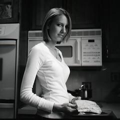 [フリー画像] [人物写真] [女性ポートレイト] [白人女性] [モノクロ写真] [ショートヘアー]      [フリー素材]