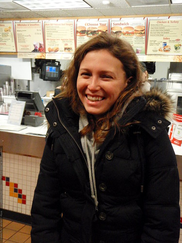 aunt megan selecting her birthday dinner from the burgerville menu - PC270045